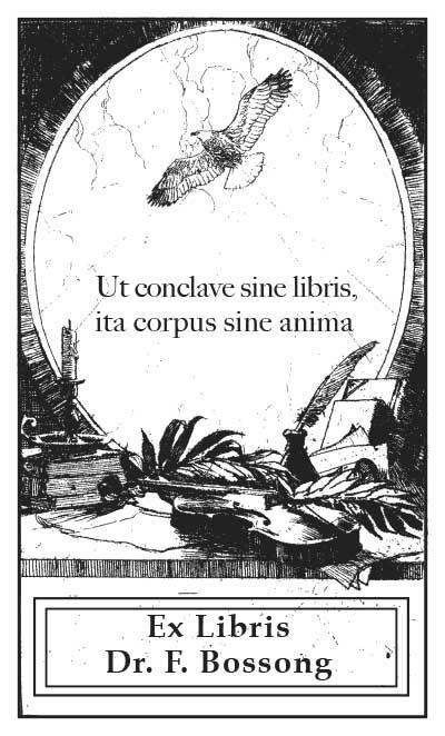Exlibris Stempel lateinischer Text mit Adler und Geige
