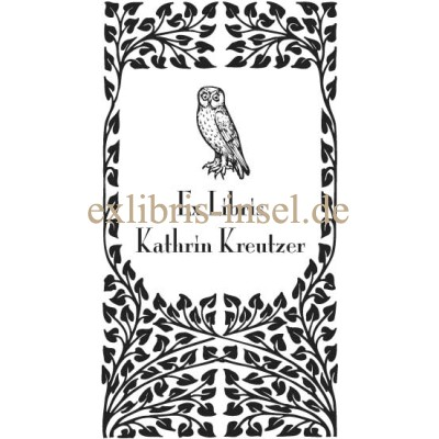 Bookplate Owl in Art Nouveau Frame