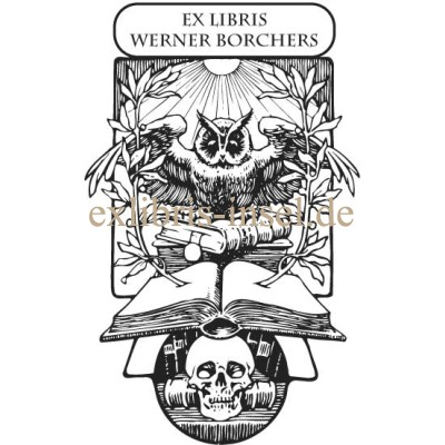Bookplate Owl and Skull