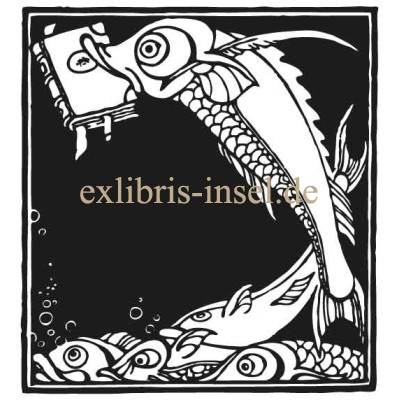 Bookplate Fish with Book