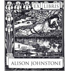 Bookplate Woman on Lake