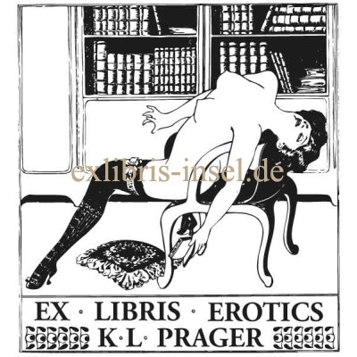 Bookplate Woman in Library