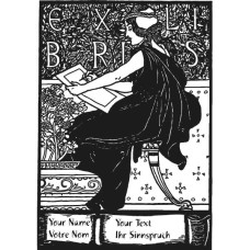 Bookplate Woman in front of plants