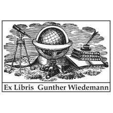 Bookplate Globe and Telescope