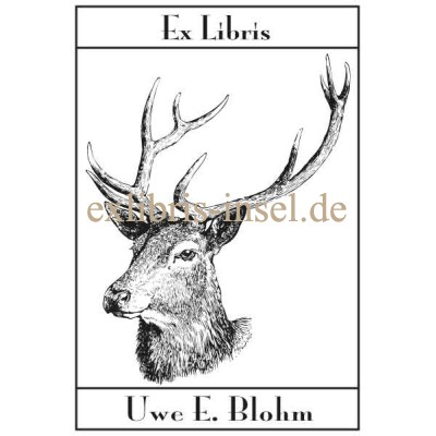 Bookplate deer with antlers