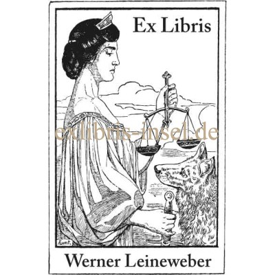 Bookplate Justitia, Libra and Wolf