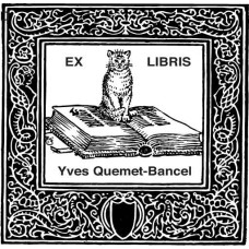 Bookplate cat on a book