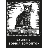 Bookplate Cat on Book