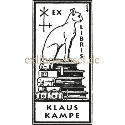 Bookplate cat with book