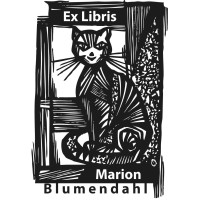 Bookplate cat in front of a window