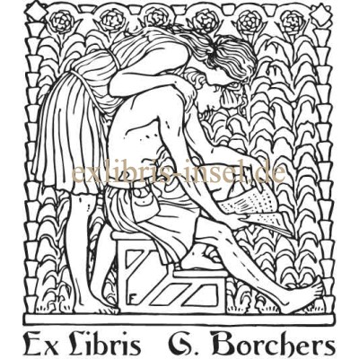 Bookplate Muse and Reader