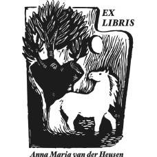 Bookplate Horse in front of Tree