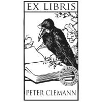 Bookplate Raven with Book