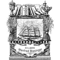 Bookplate Ship and Book