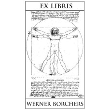 Bookplate Vitruvian Man with text
