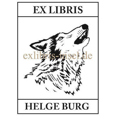 Bookplate animals howling Wolf