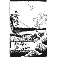 Bookplate Japanese landscape