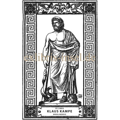 Bookplate Asclepius, Greek god, founder of the healing arts