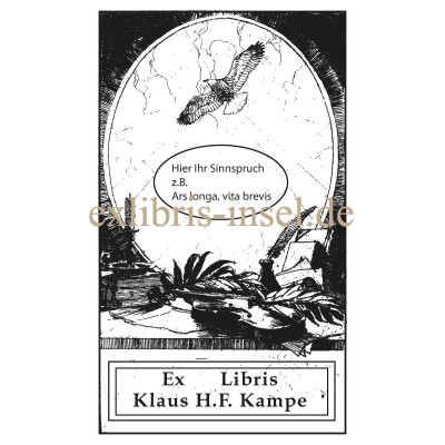 Bookplate eagle in front of a desk with books and violin