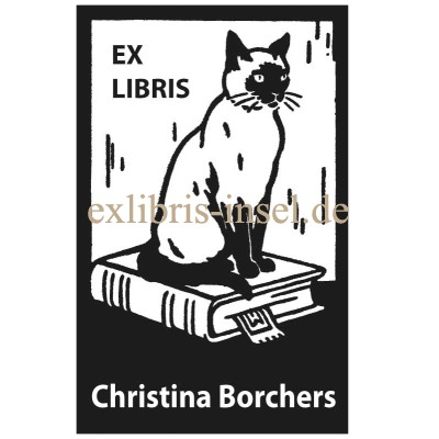 Bookplate siam cat with book