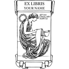 Bookplate woman with scroll