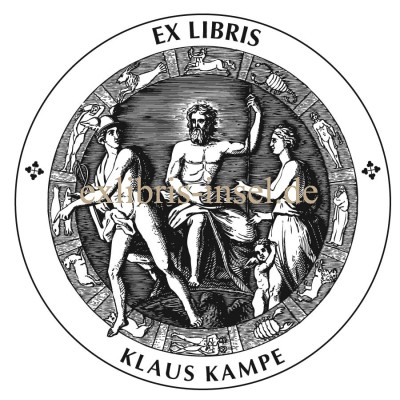 Bookplate Olympian gods Zeus and Hermes, protector god of traffic, travelers, merchants and shepherds