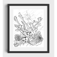 Fish, coral, diver black and white graphic