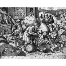 Picture on aluminum dibond plate, proverbs after Pieter Bruegel, Jedermann