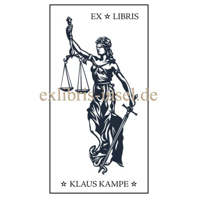 Bookplate Justice Justitia with Libra and Sword