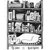 Bookplate cat in front of bookshelf