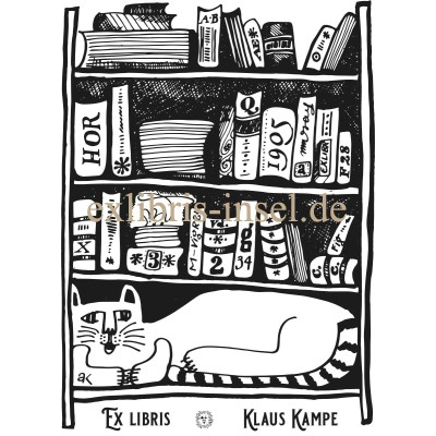 Bookplate Cat cat in front of books