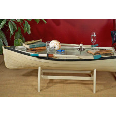 Dory boat book shelf, rowing boat table with glass top