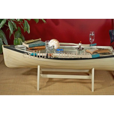 furniture wood table boat with glass top