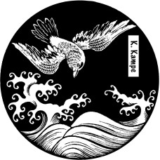 Bookplate bird over wave