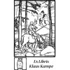 Bookplate knight in forest on horse in front of castle