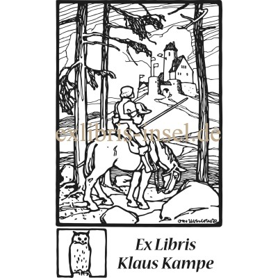 Bookplate knight on horse in landscape in front of castle