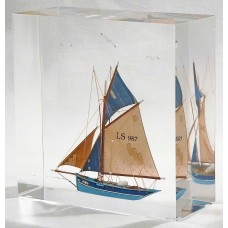 Sailing ship model in acrylic block