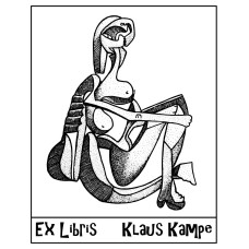 Bookplate Ex Libris art, sitting bather