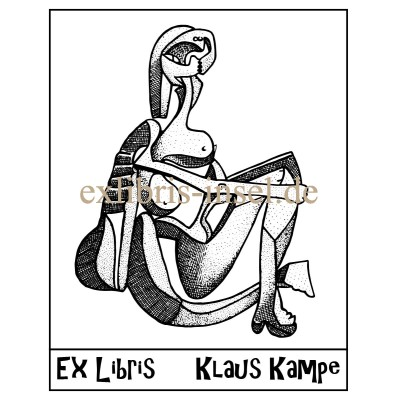Bookplate Art Ex Libris after Picasso, the seated bather