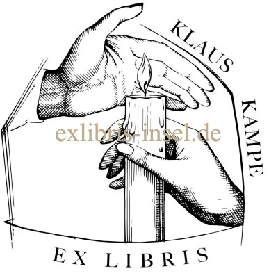 Bookplate candle and hands