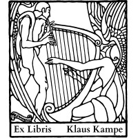 Bookplate music, harp and flute