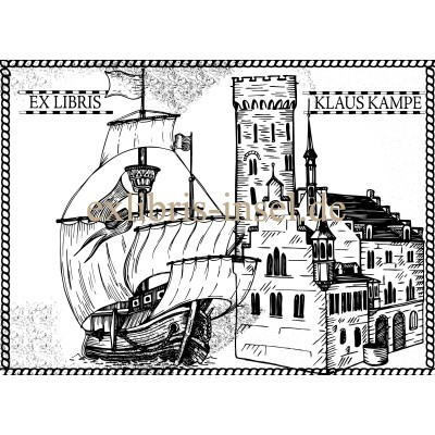 Bookplate Ex Libris large classic sailing ship in front of castle
