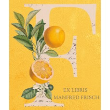 Bookplate Ex Libris letters with plants