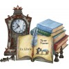 Bookplate Book with Clock and Chessmen