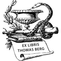 Bookplate Pharmacist, Aeskulap, Snake and Books