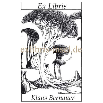 Bookplate tree and landscape