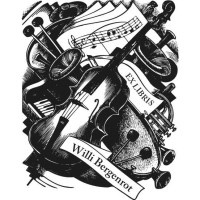 Bookplate violin, piano and notes