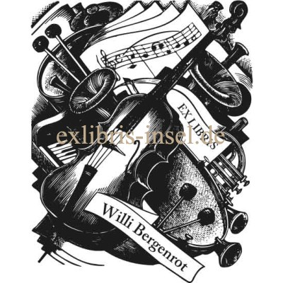 Bookplate music, violin, piano and notes