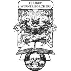Ex Libris Eule mit Totenkopf