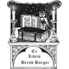 Ex Libris Eule und Buch und Kerzen